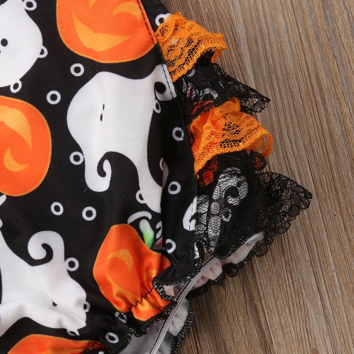 Halloween adorável Bebé recém-nascido infantil Verão sem mangas Jumpsuit Bodysuit roupa vestido Tutu Outfit
