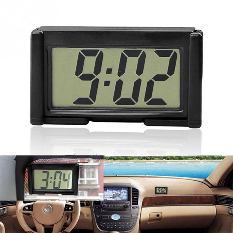 Schermo LCD 1pc Mini Digital Clock cruscotto auto orologi da tavolo Orologio di tempo di studio a casa Forniture Vetture Ornament Accessori