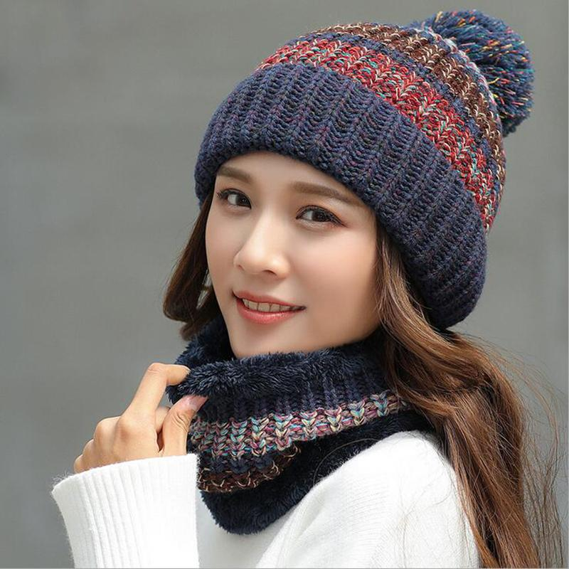 89256df583d Winter Hat Scarf Set Thick Warm Knitted Hats And Scarf Big Pompon ...