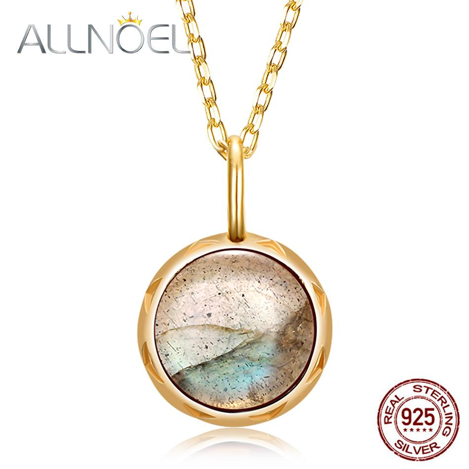 Allnoel Solid 925 Sterling Silver Pendants Necklace For Women 1.3ct Real Natural Labradorite Gemstone Engagement Wedding Jewerly J190612