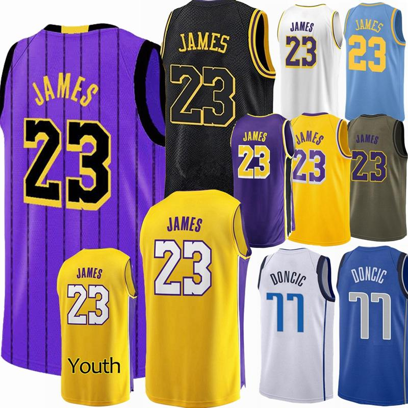 wholesale dealer 37cbd 24c7c 23 James Lakers Jersey 2019 City Lakers LeBron Youth Black Basketball  jerseys 77 Luka # Doncic Dallas