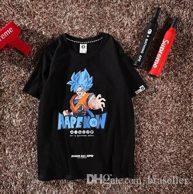 9089d2b83 Best Quality Men Tee Box Logo Unisex T Shirts APE GOKU Print Tops T-shirts  Summer Short Sleeve Loose Skateboard Fashion Cotton Tshirt Best Quality Men  Tee ...