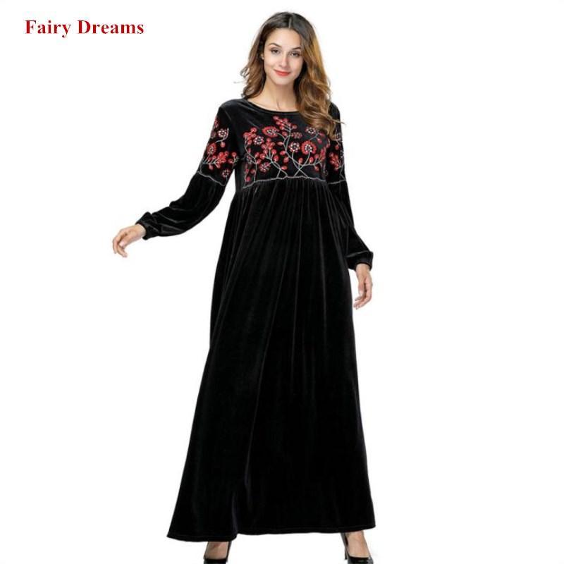 6222443e511 Acheter Velours Musulman Robe Black Abayas Dubai Fleurs Broderie Femmes  Maxi Robes À Manches Longues Robe Turque Plus La Taille Islamique Vêtements  De ...