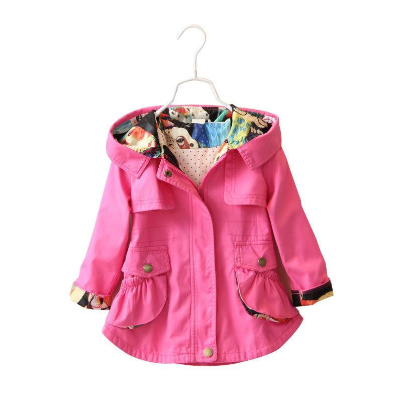 41ecc74b6 Children Girls Jacket Hooded Waist Cotton Kids Outerwear Baby Girl ...