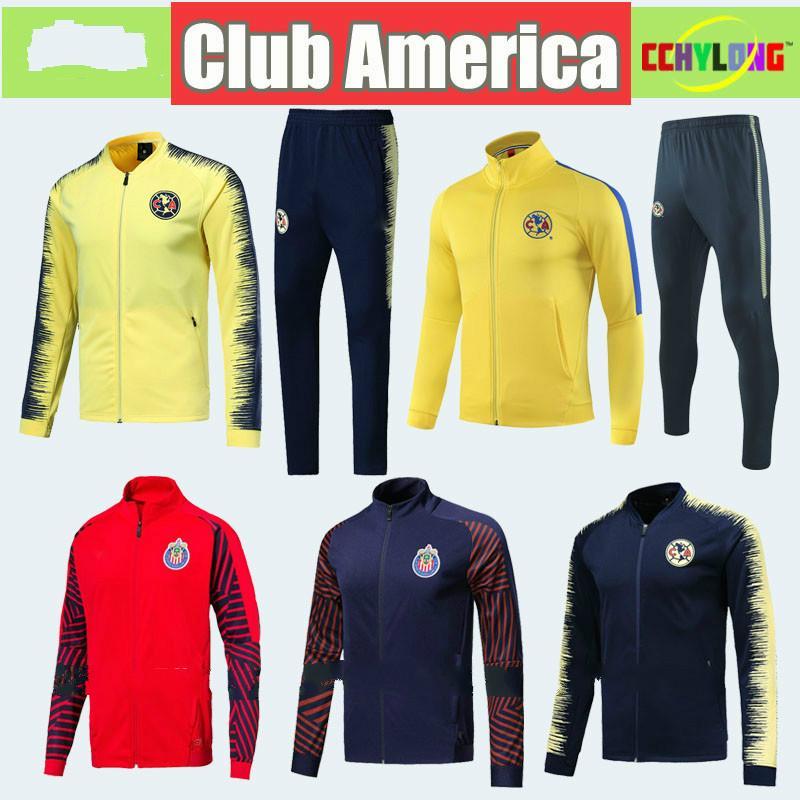 1f221d3ea 2019 2019 Club America Jacket Kit Soccer Training Suit 18 19 20 Survetement  Chivas De Guadalajara Tigres Long Sleeve Tracksuit Kit Uniform Shirts From  ...