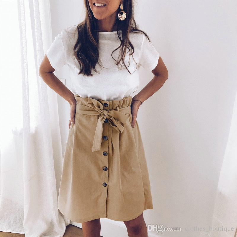 2019 DHL Donna Casual vita alta Button Up gonna una linea Elastico in vita Tasche Midi lunghezza pieghettata Midiskirt