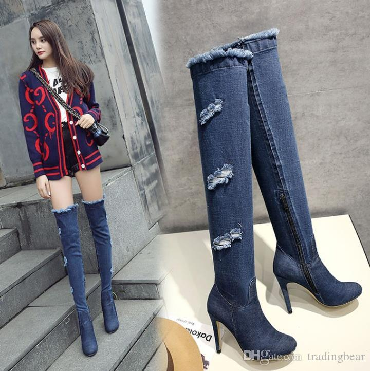 size 33 to 42 43 with box sexy high heels grind old over the knee thigh high boots denim blue boots winter designer boots