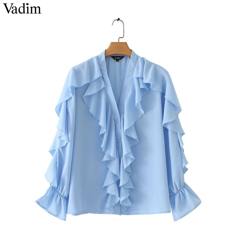 Vadim Women Sweet Ruffled Chiffon Blouse V Neck Long Sleeve Cute Female Casual Fashion Blue Shirt Stylish Tops Blusas La855 Y190510