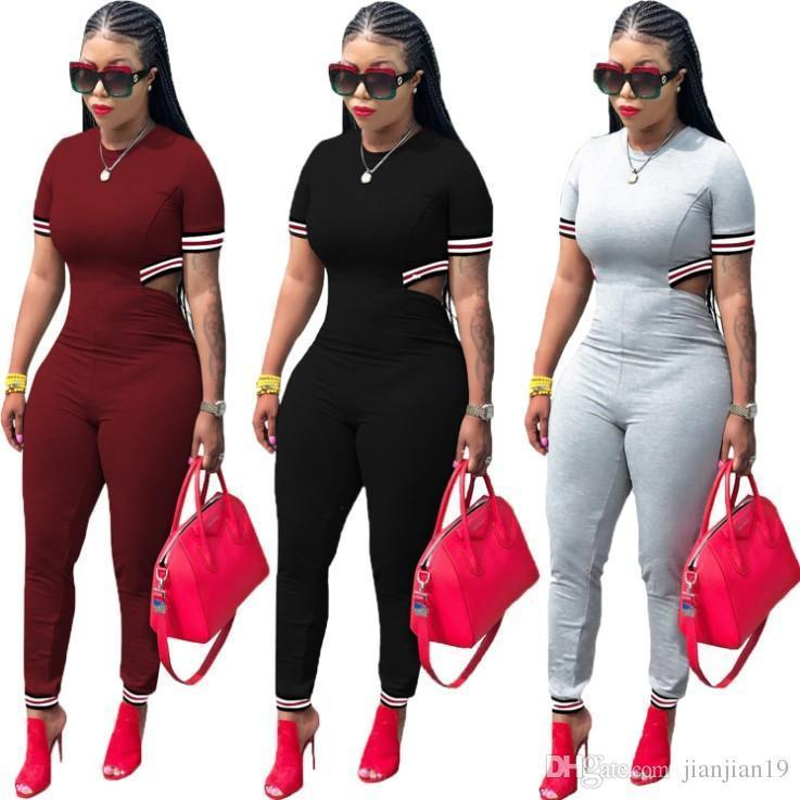 c6dd7cb39be0 2019 T3274H Explosion Models Recommended European And American Urban  Fashion Women S Webbing Short Sleeved Three Color Jumpsuit From Tang6607
