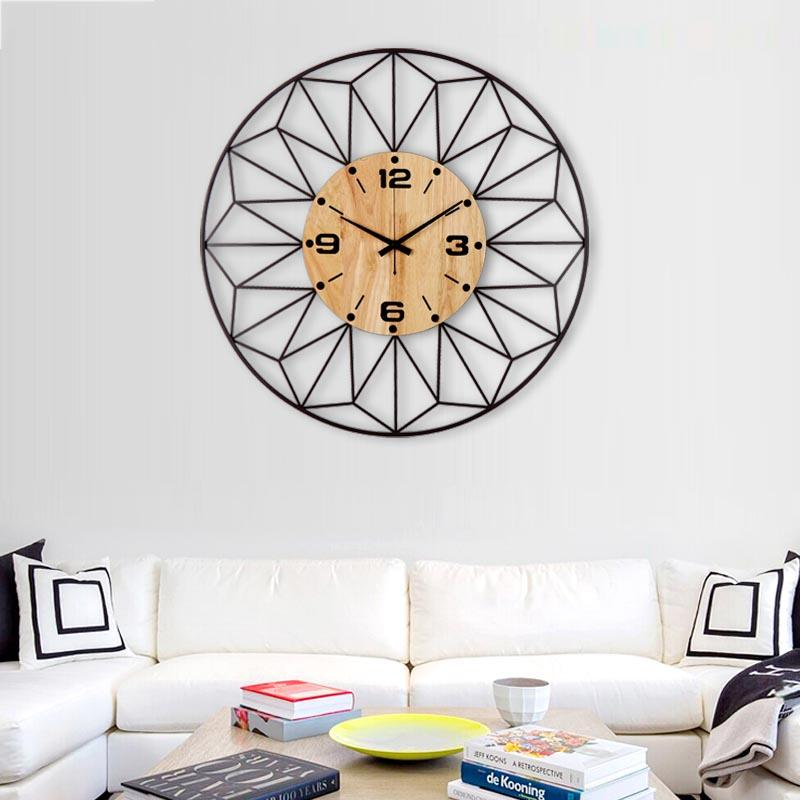 Tea Room Decoration Crafts Brief Quartz Wall Clock Wall Clocks Metal Raw Wooden Big Needle Digital Watches Household