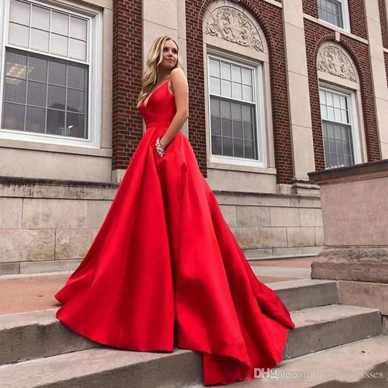 Sexy Spaghetti V Neck Prom Dresses Custom Red Satin Skirt Evening Gowns With Pockets Sweep Train Lace Up Woman Formal Prom Gowns
