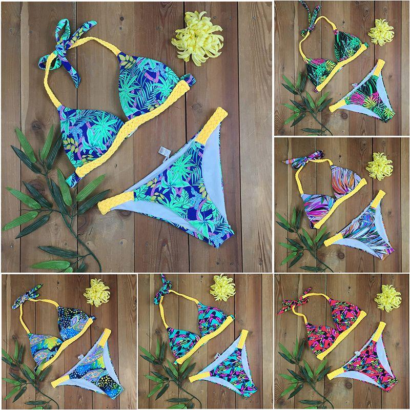 c68c7f437d 2019 New Digital Print Floral Bikini Women Swimsuit Handmade Braided  Bathing Suit S XL Padded Bra Halter Beachwear Backless Bikini Set From  Luanxiaobo, ...