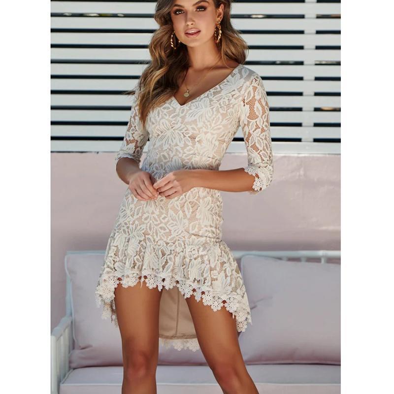 9e3864e3e Compre Boa Qualidade Moda Sexy Mulheres Com Decote Em V Outono Inverno  Rendas Floral Swallow Cauda Femme Magro Vestidos De Festa Vestido De  Jamie12, ...