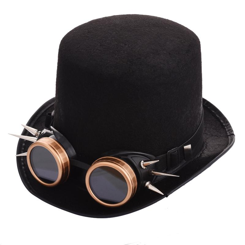 1bbf2ab81a318 2019 Cheap Fedoras Gothic Unisex Steampunk Top Hat With Rivet Goggles  Halloween Cosplay Fedora Goggle Hat Retro Vintage Accessories From App003