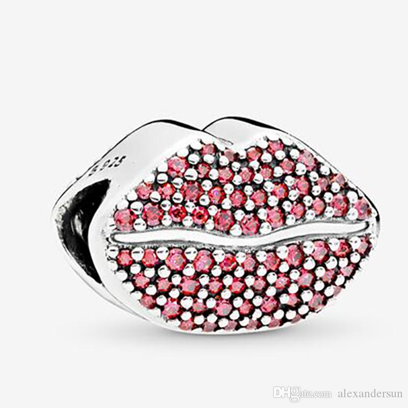 Kiss More Charm Charms New Sterling Silver 925 Solid Beads Rose Fit for Pandora Original Women's Charm Bracelet DIY Jewelry