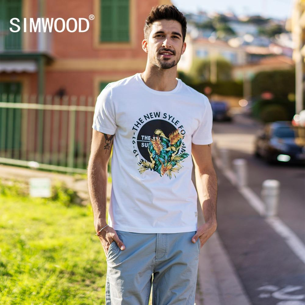 SIMWOOD 2019 Summer New Print T Shirt Hommes Fashion Tops Plus Size Tshirt 100% coton T-shirts respirants Streetwear