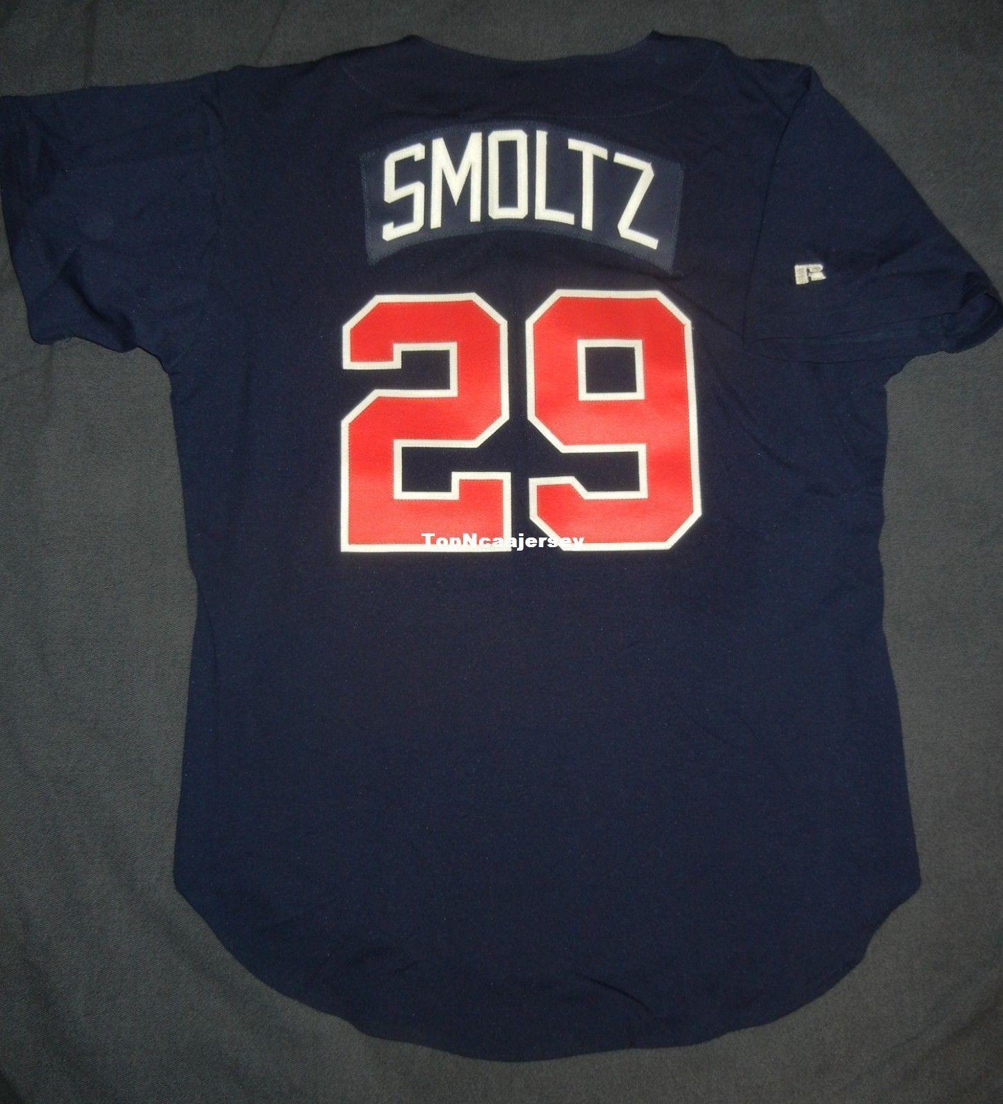 8cc8127aa Cheap Retro JOHN SMOLTZ #29 Top Russell Athletic ATLANTA Navy Jersey ...