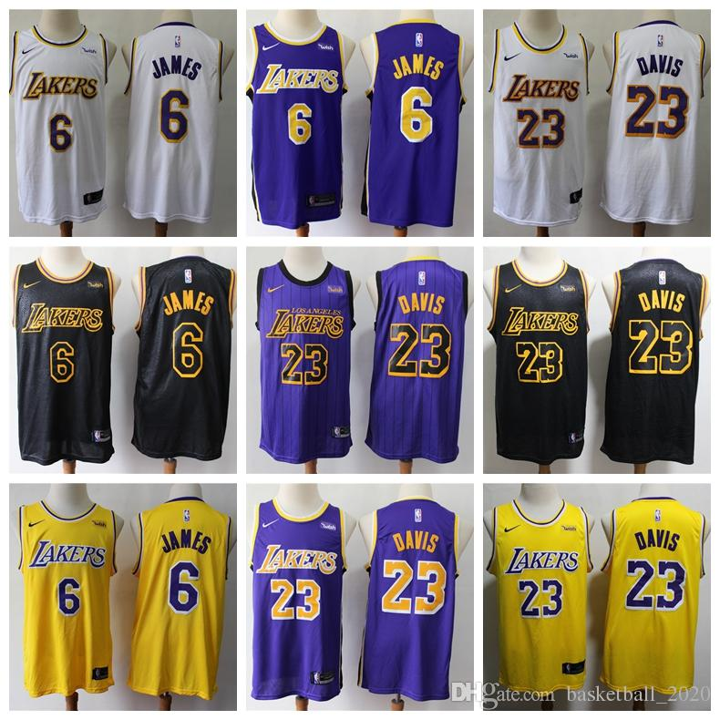 cheap for discount b3374 32e48 2020 New Mens 6# LeBron James Swingman Jersey Authentic Los Angeles Laker  LeBron James Anthony Davis Basketball Jersey Stitched Sponsor logo