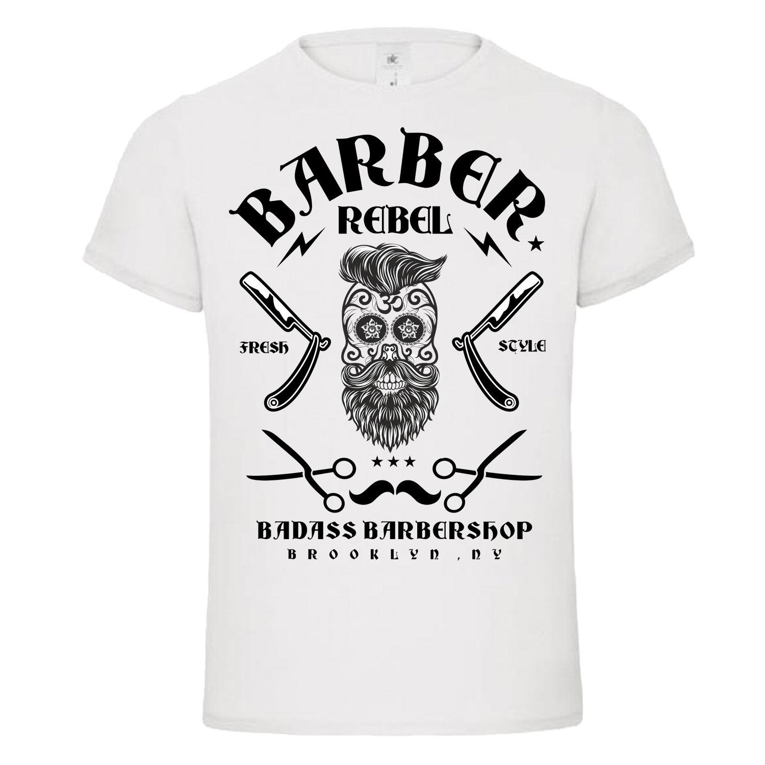 ad0d4abdabe BADASS BARBER REBEL 2 Skull Moustache Tattoo T Shirt Dtg NEW DESIGN Top Tee  Men T Shirt 2018 Summer 100% Cotton Funny T Shirts For Men Make T Shirts  From ...