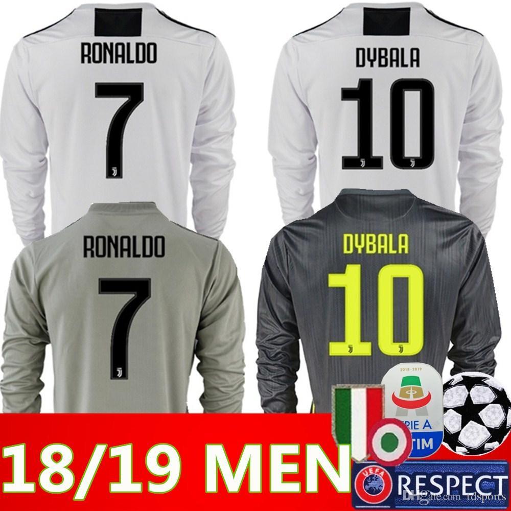4cbd7f5d503 18 19 Thailand Quality RONALDO Juventus Long Sleeve Soccer Jerseys ...