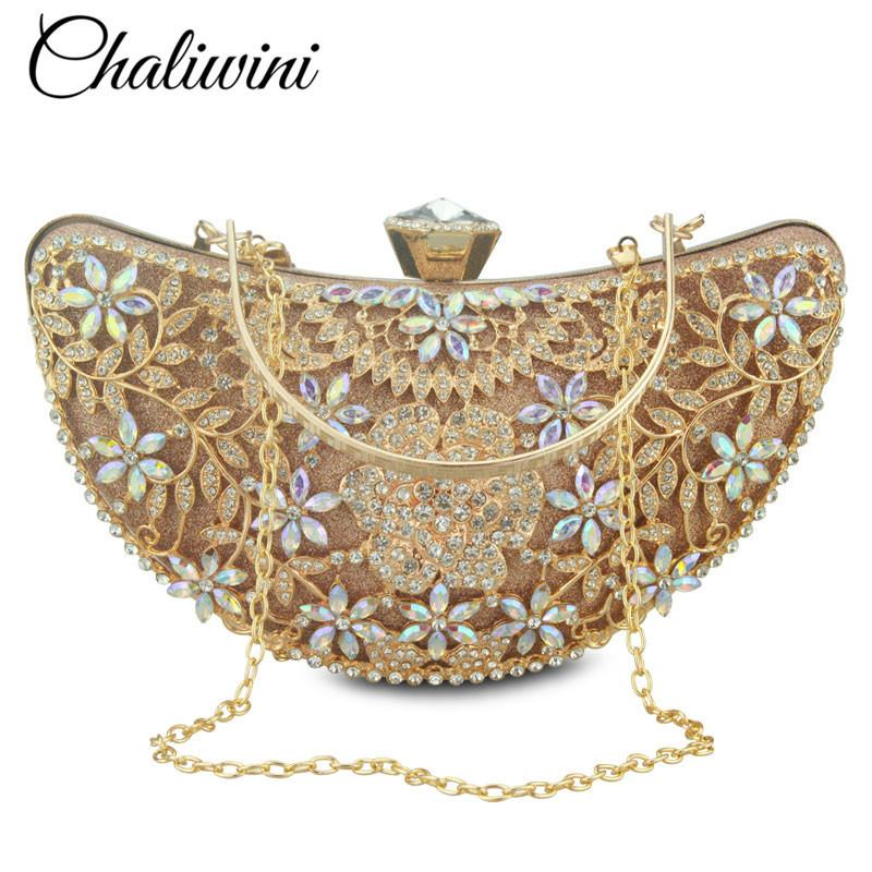 Bridal Metal Clutch Floral Bag Women Crystal Gold Evening Bag Wedding Party Handbags Purse Lady Diamond Rhinestone Clutches Y19061301
