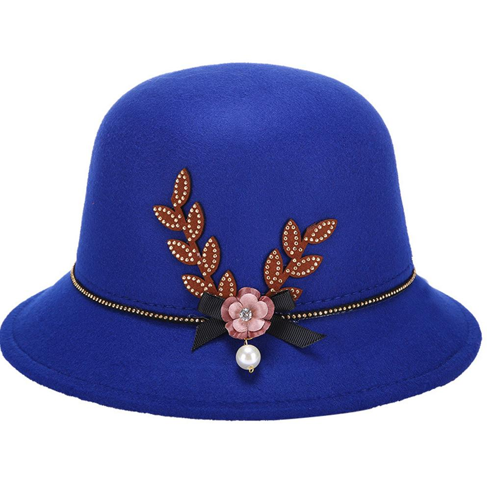 Vintage Women Flower Pearl Bow-knot Decorated Felt Cap Warm Easy Lady Retro Elegant Bowler Hat