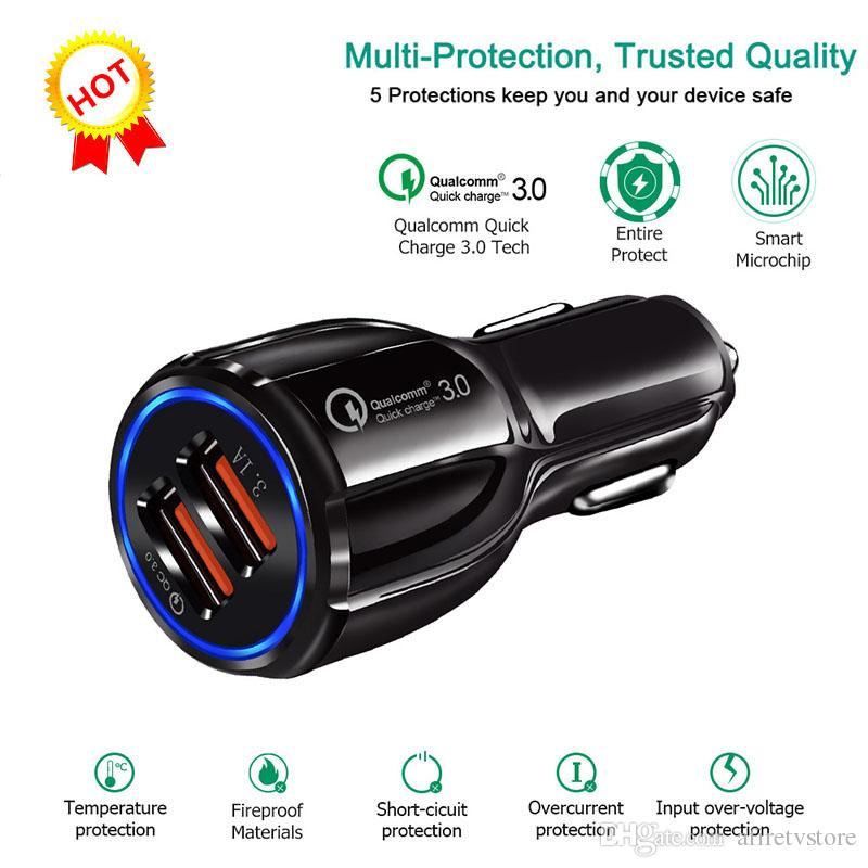 super popular 679b1 ceea4 For Samsung Galaxy S10 S9 Iphone X QC3.0 fast charge 3.1A Qualcomm Quick  Charge car charger Dual USB phone charger with opp package