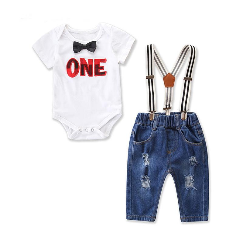9856f477da3 2019 Baby Boys Romper Clothes Suit With Bow Belt Jeans Pants Kids Casual  Outfits 9 36 M Infant Newborn Clothing Set Red Letter ONE From Xiaocao07