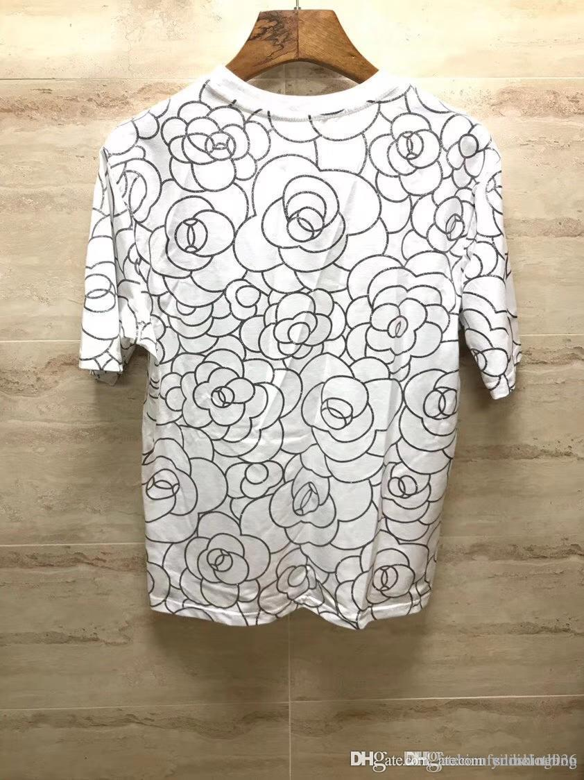 3e197c88b 2019 New Spring Summer Luxury Europe Paris Coco T Shirt Shirts Short Sleeve  Camellia Covered Patterns Men Women T Shirt Casual Cotton Tee Top From ...
