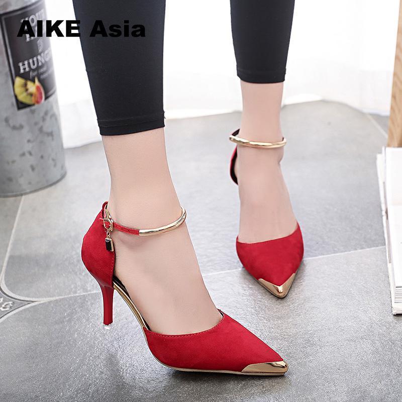 2f9d2efa728 Designer Dress Shoes Aike Asia Women Suede Pumps High Heels Sexy Pointed  Toe Thin Heel Ladies Wedding Metal Head Office   Career  608 Vegan Shoes  Cheap ...