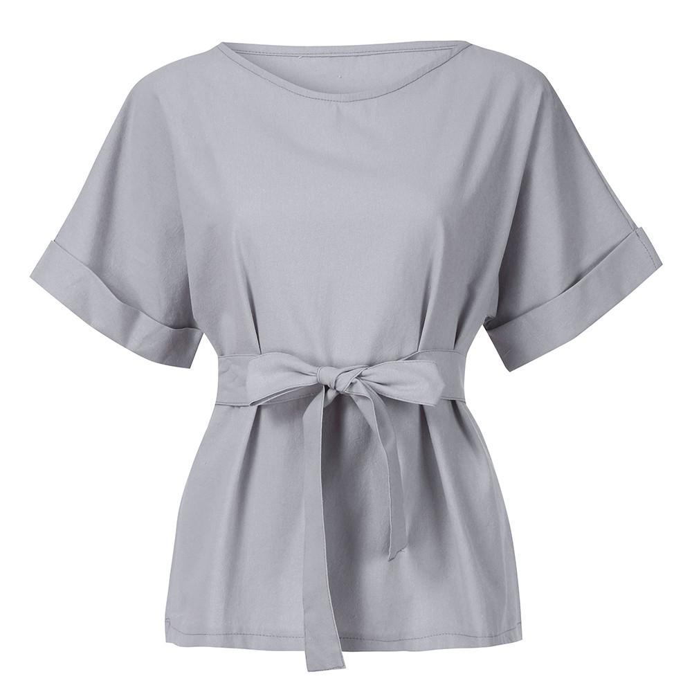 be50d6f549e78b Women Casual Kimono V Neck Cotton Linen Top With Tie Belt Loose Tunic Shirt  Floral Aesthetic Tumblr Riverdale Camicia Donna Tee Shirt Funny Tee Shirt  ...