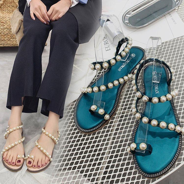 De Playa Punta Viaje 2019 Para Casuales Mujer Verano Niñas Salvaje Pearl Romana Zapatos Sandalias Zapatillas Con Cómodos Mujeres HWED29I
