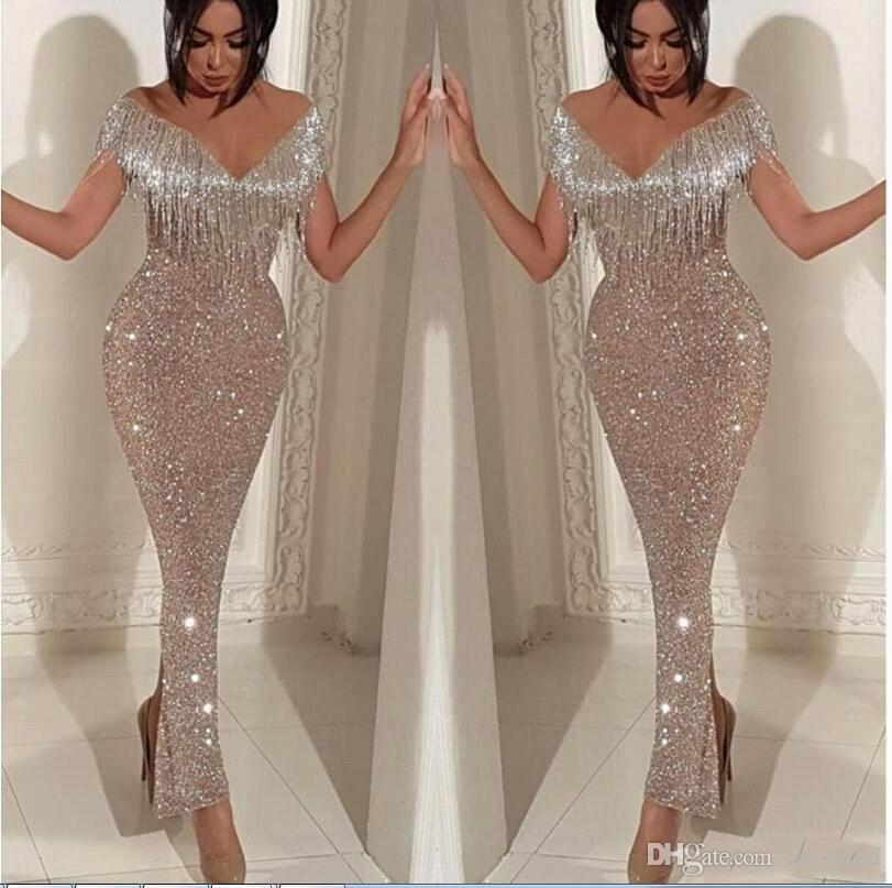 Silver Sparkly Ankle Length Sequined Prom Dresses with Tassel Formal Party Evening Gowns Celebrity Pageant Gowns BC0474