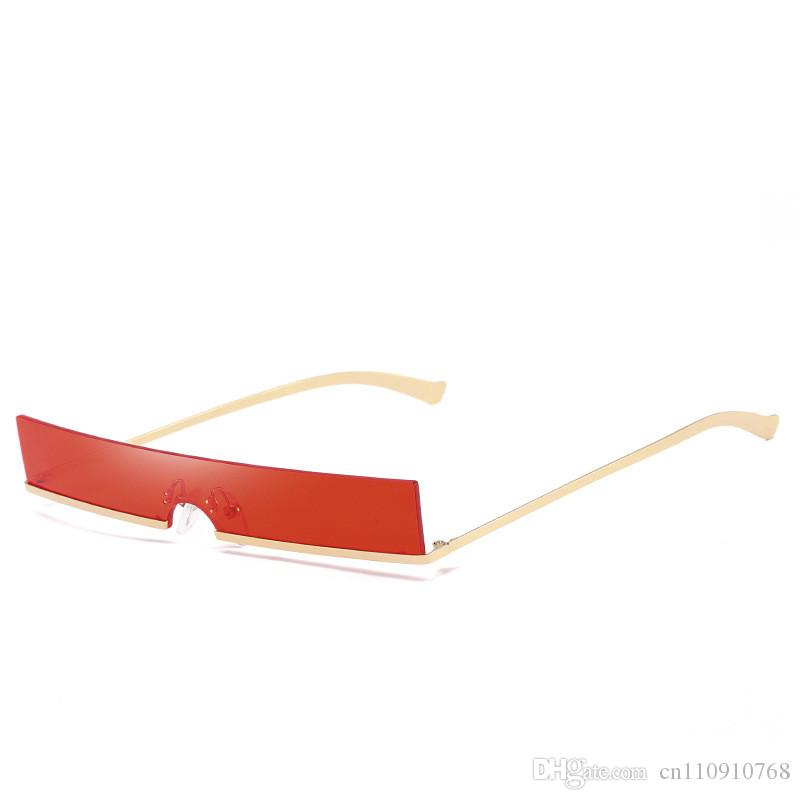 6dbee9f88 Compre AEB01 Flat Top Pequeno Quadrado Óculos De Sol Semi Sem Aro Moda  Feminina De Metal Do Templo Na Moda De Peso Leve BOY EYEWEAR De  Cn110910768, ...