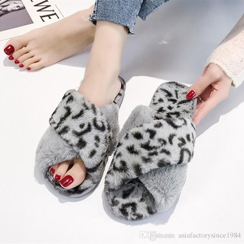2c56fc2501a7 2018 Leopard Winter Women Home Slippers with Faux Fur Fashion Warm ...