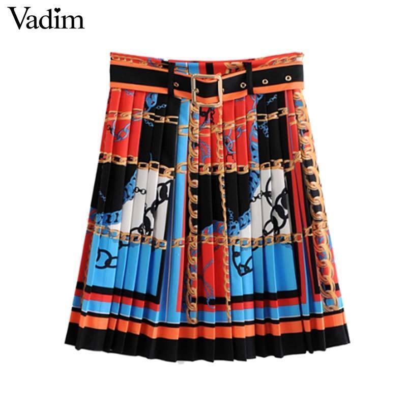 8173bdb0b7 Vadim Women Chic Chains Print Mini Skirt Faldas Mujer Zipper Fly ...