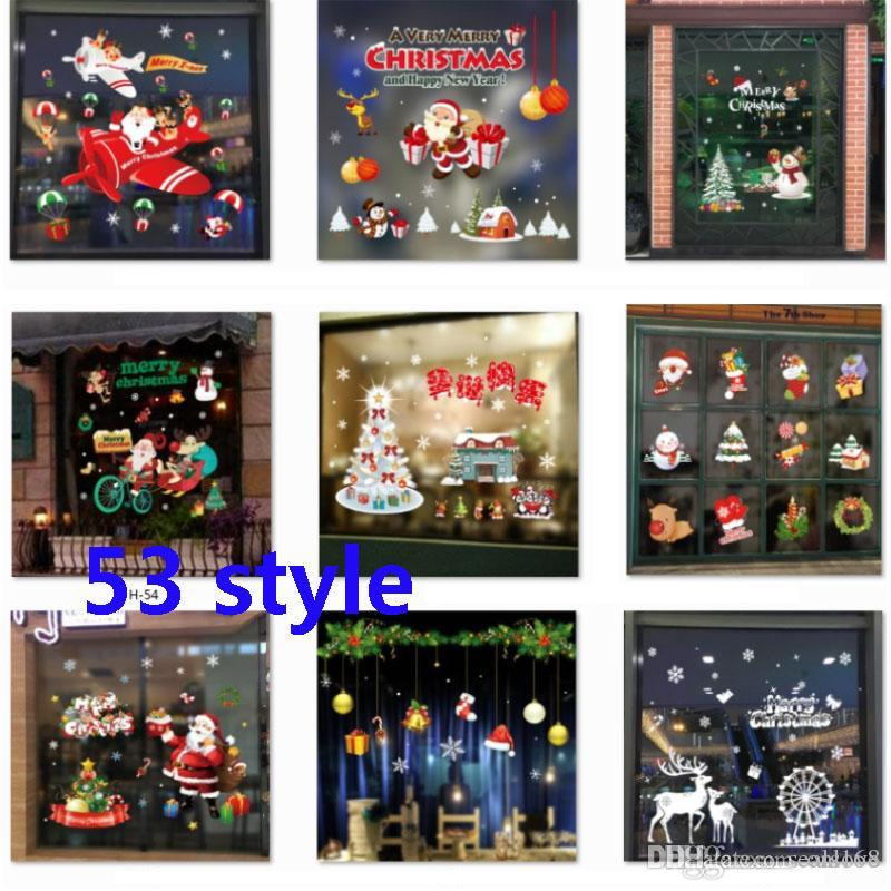 Clearance Christmas Decor.Dhl Christmas Self Adhesive Stickers Decorations Clearance Pvc Merry Christmas Ornament Home Window Wall Stickers Glass 53 Style Hh7 1872