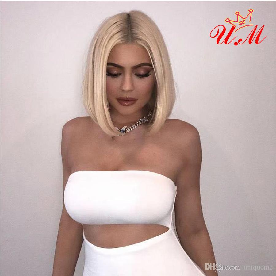 Lace Front Human Hair Wigs 613 Blonde Short Bob Straight Lace Wigs Brazilian Remy Human Hair Pre plucked Hairline 150% Density