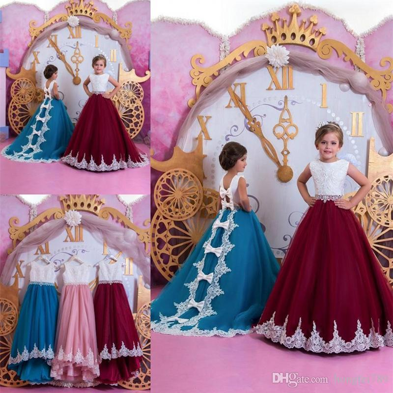 Flower Girl Dresses 2019 Appliqued Cotton Kids Evening Prom Gowns Pageant Birthday Communion Dress