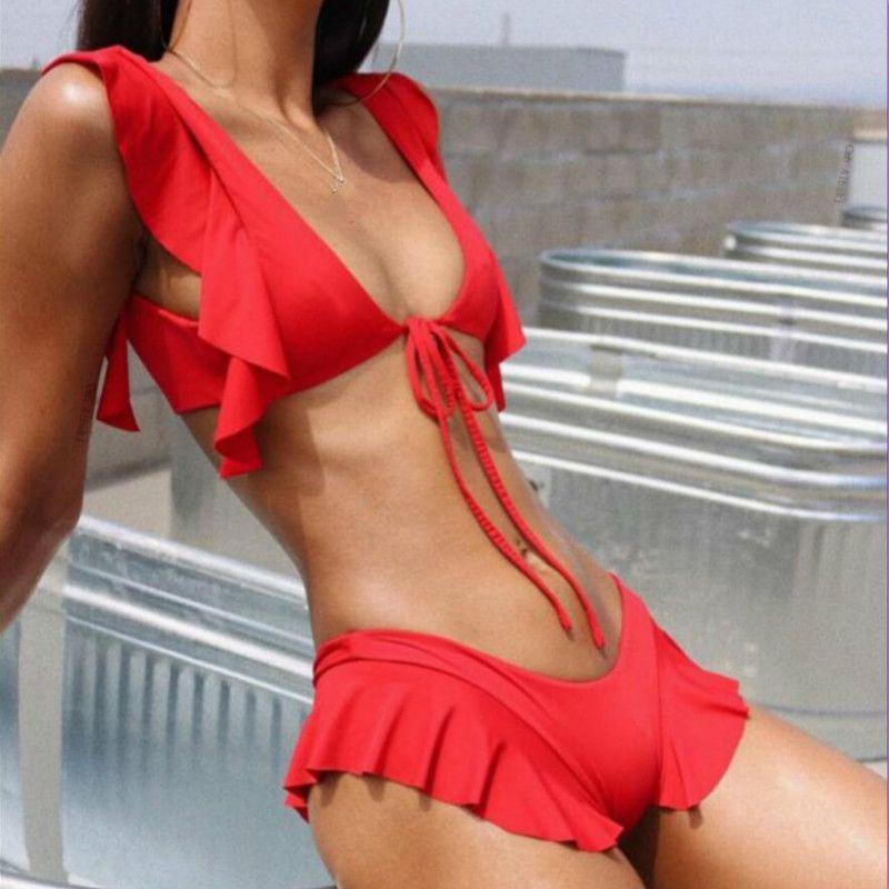 5b7ce0bcb8bf Sexy Bikinis 2019 Mujer Ruffle Patchwork Tanga Bikini Rojo Tankini Trajes  de baño Mayo Mujeres Fusionado traje de baño femenino para el traje de baño