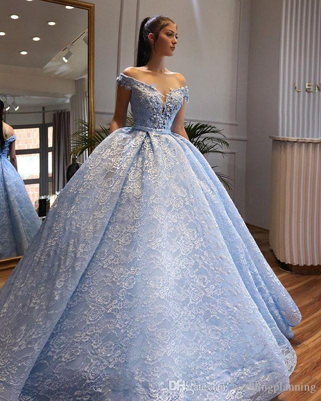 Blue Wedding Dresses 2019: 2019 Unforgettable Light Blue Ball Gowen Weddng Dresses