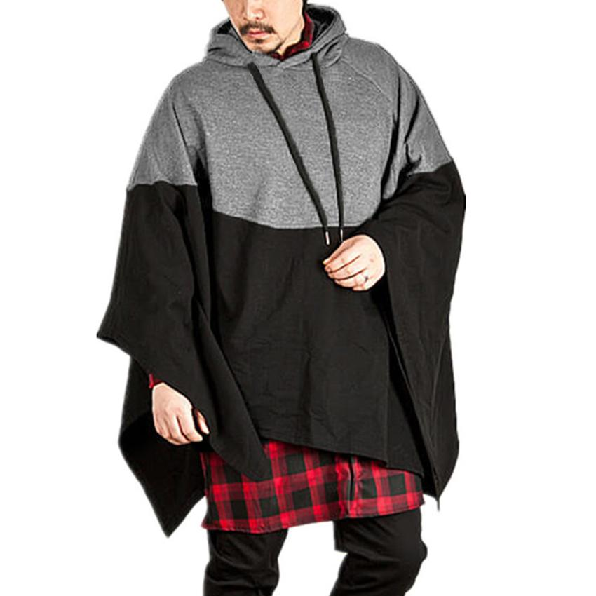 Winter Mens Poncho Hoodie Irregular Splice Casual Hooded Sweatshirt Jumper  Pullover Mantle Cloak Coat Party Wear Male Clothes