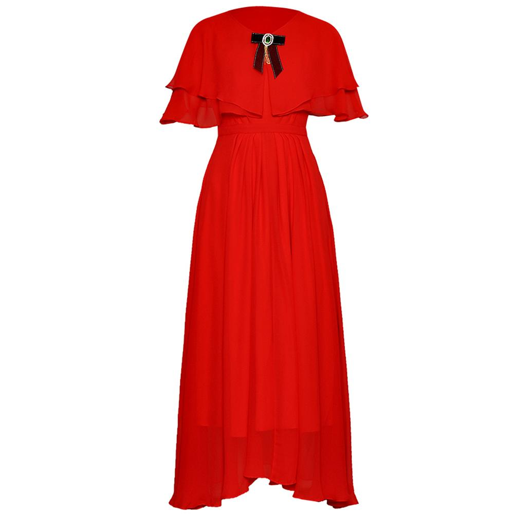 Red RoosaRosee Small Cloak Diamond Bow Slim Elegant Chiffon Dress Red Beige Ankle-length Vestidos Party Robe Femme Summer Women