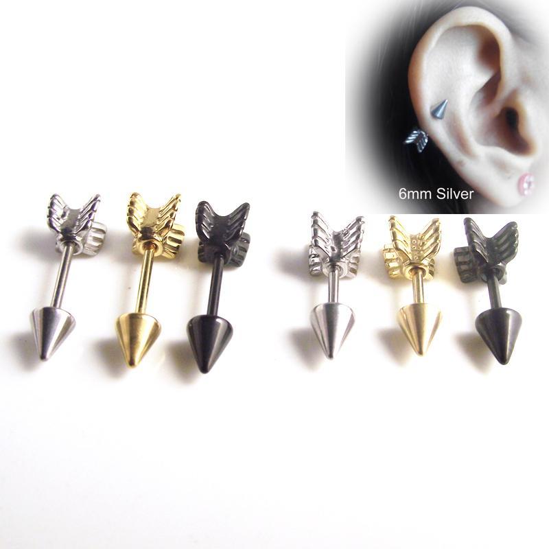 4d58a208b 2019 Earrings Stud Earrings Gold Silver Black Surgical Stainless Steel Earring  Stud Punk Love Arrow Ear Tragus Piercing Fake Ear Taper From Yan234, ...