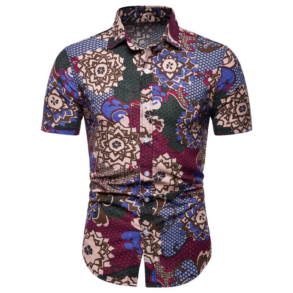 9277cc06ad Compre Vintage Estampado De Flores Camisa De Hombre Hombre Maduro Festival  Use Camisa De Manga Corta Estilo Étnico Hombres Lino Blusa 5XL Blusa Suelta  ...