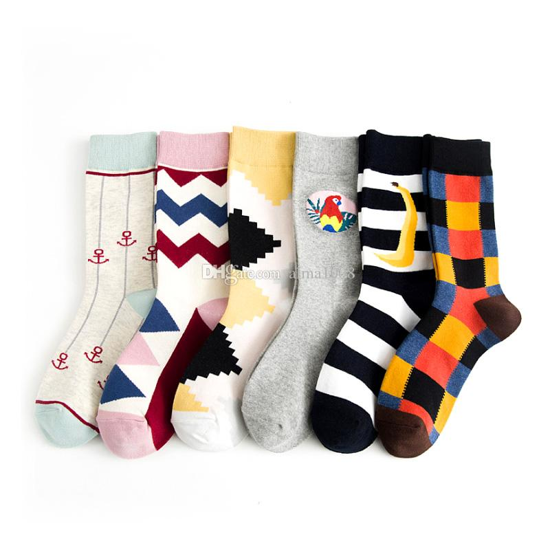 064312722390f New Style Free Size Fashion Men's Unique Socks 6 Kinds Of Design Cotton  Stockings Ankle Knitted Fun Socks