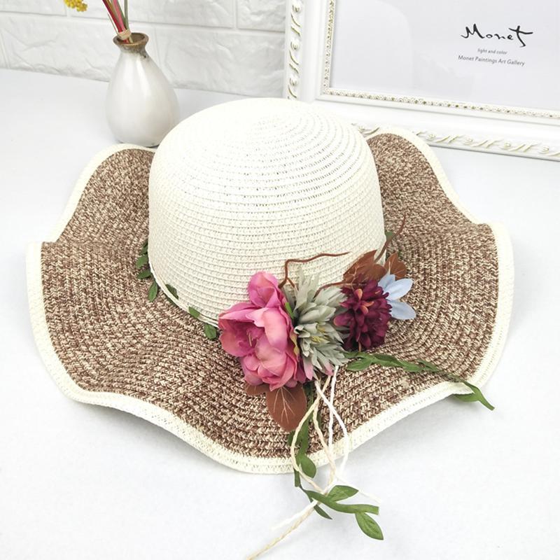a68dd9557 Fashion Casual Sun Hats Summer Women'S Hat Wide Side Sesame Needle ...