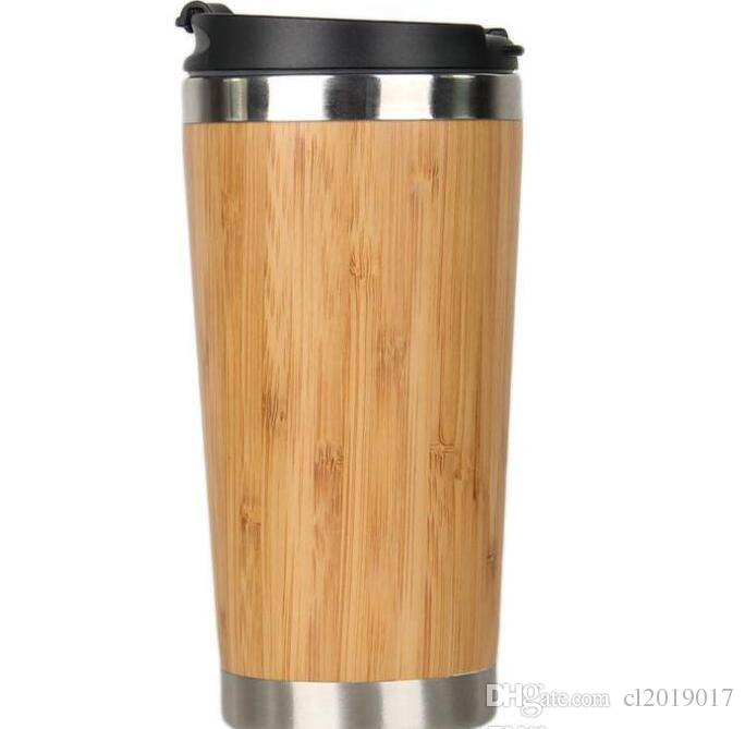 a23cd001235 15oz Stainless Steel Bamboo Water Bottle Vacuum Insulated Coffee Travel Mug  Leakproof Tea Cups Wood Outdoors Mugs Bamboo Tumbl Cheap Coffee Mugs Cheap  ...