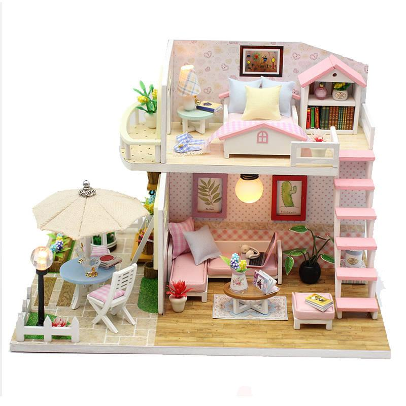 Kids Girls Diy Doll House Wooden Villa Doll Houses Miniatures