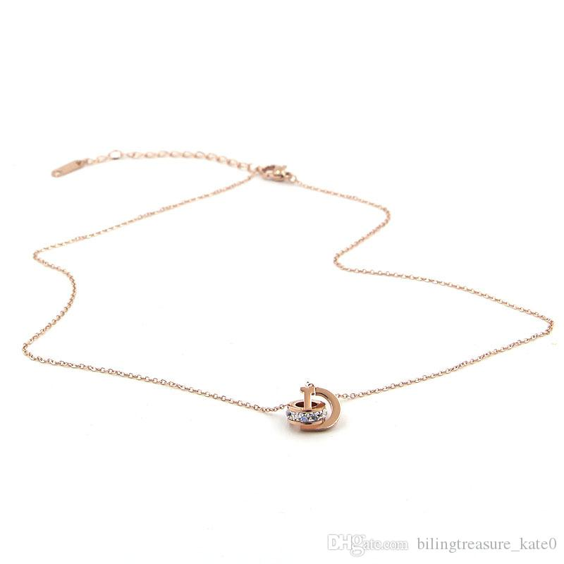 D letter square diamond double ring interlocking short rose gold necklace color gold clavicle chain mom gifts from daughter friendship gifts